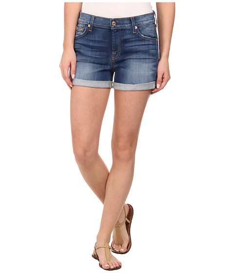 7 For All Mankind - Roll Up Shorts in Brilliant Azure (Brilliant Azure) Women