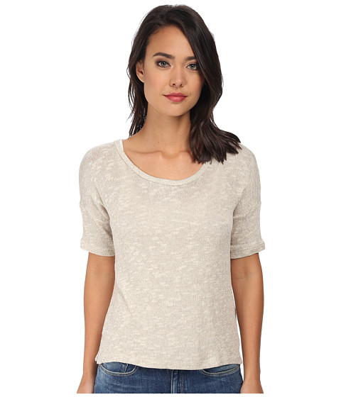 C&C California - Short Sleeve Tee w/ Back Placket (Oatmeal Heather) Women's T Shirt
