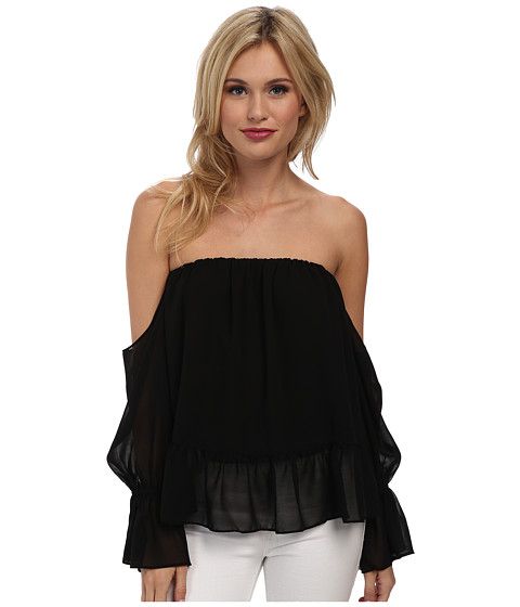 Tbags Los Angeles - Ruffle Off the Shoulder Top (Black) Women's Blouse