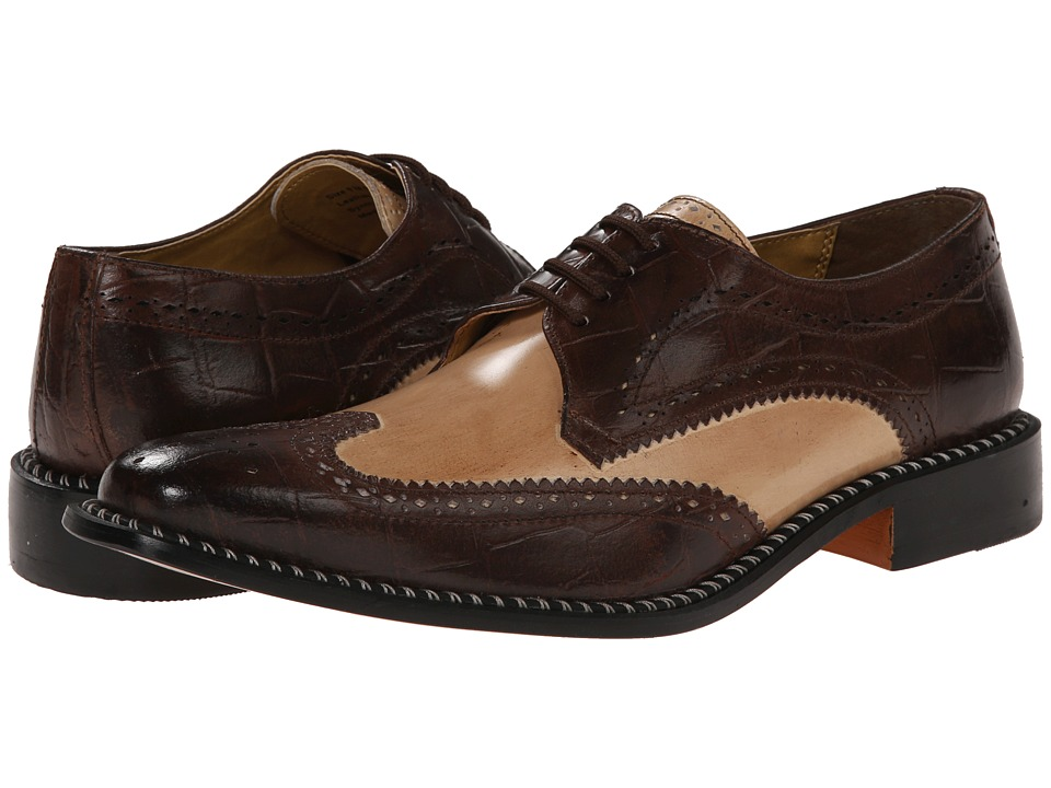 Giorgio Brutini - Caster (Brown/Tan) Men's Lace Up Wing Tip Shoes