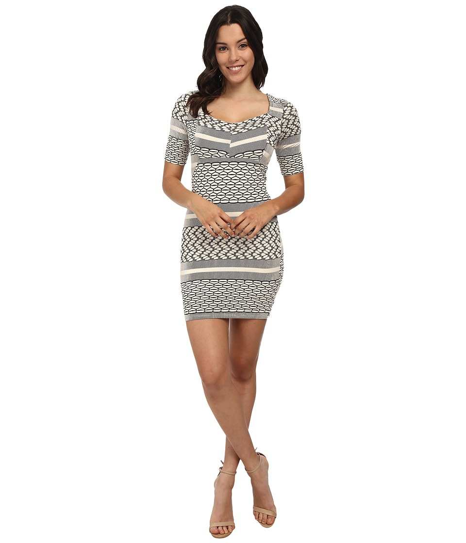 Brigitte Bailey - Stripe Print Delilah Dress (Black/Grey) Women's Dress