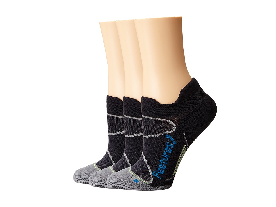 Feetures - Elite Light Cushion No Show Tab 3-Pair Pack (Black/Pacific Blue) No Show Socks Shoes