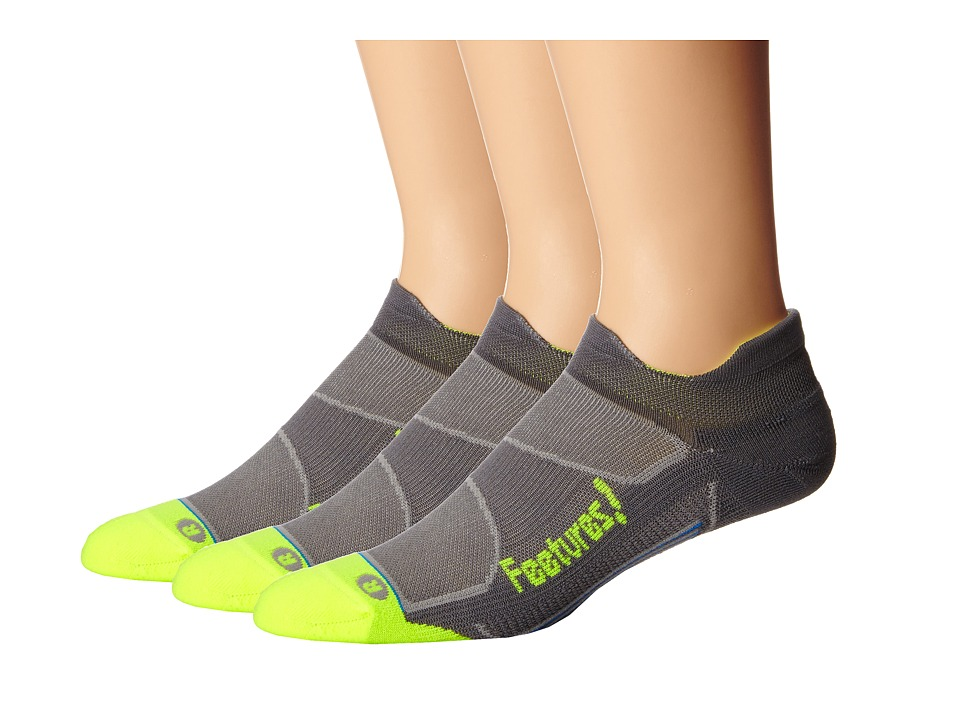 Feetures - Elite Light Cushion No Show Tab 3-Pair Pack (Graphite/Reflector) No Show Socks Shoes