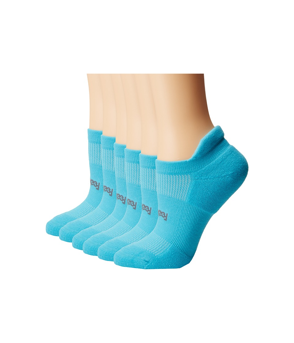 Feetures - High Performance Light Cushion No Show Tab 6-Pair Pack (Aqua) No Show Socks Shoes