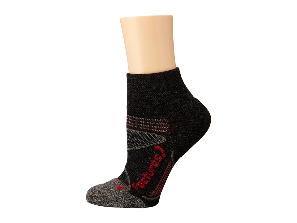 Feetures - Elite Merino+ Light Cushion Quarter 3-Pair Pack (Charcoal/Red 1) Quarter Length Socks Shoes