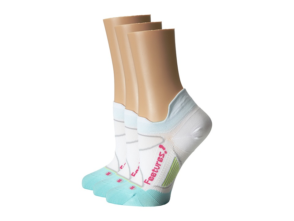 Feetures - Elite Ultra Light No Show Tab 3-Pair Pack (White/Deep Pink) No Show Socks Shoes