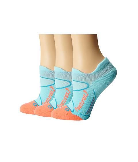 Feetures - Elite Light Cushion No Show Tab 3-Pair Pack (Aruba Blue/Coral) No Show Socks Shoes