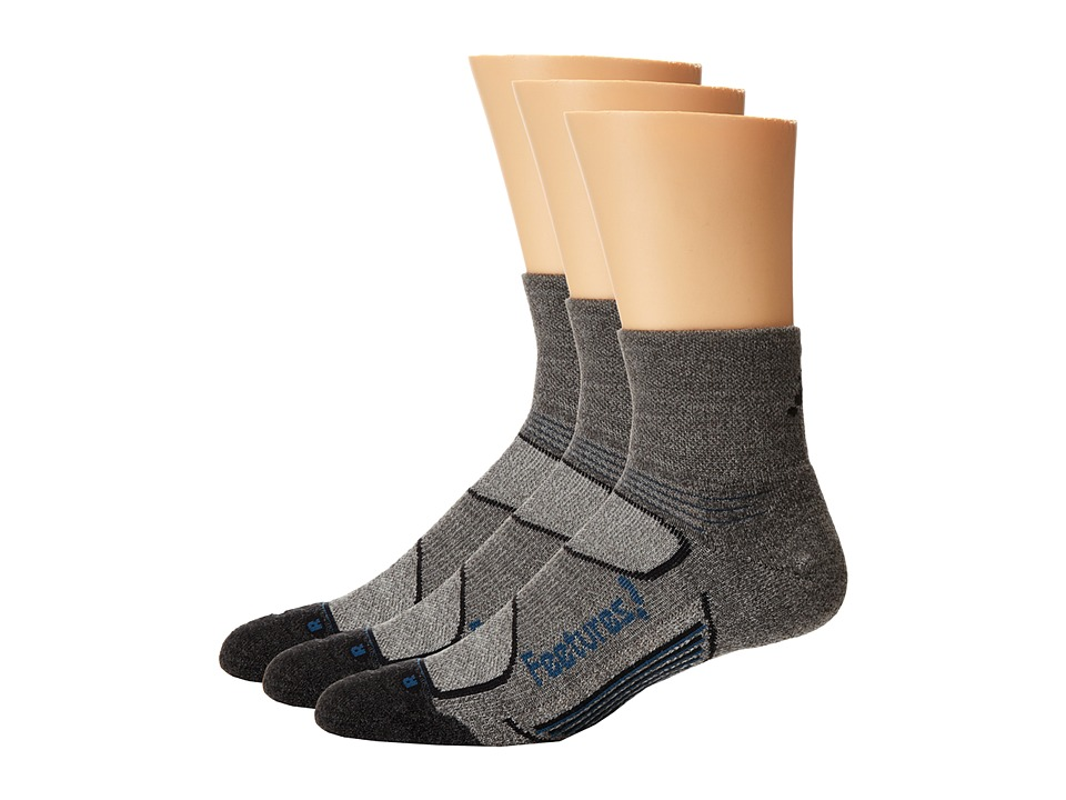 Feetures - Elite Merino+ Light Cushion Quarter 3-Pair Pack (Gray/Pacific Blue 1) Quarter Length Socks Shoes