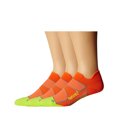 Feetures - Elite Ultra Light No Show Tab 3-Pair Pack (Electric Orange/Reflector) No Show Socks Shoes