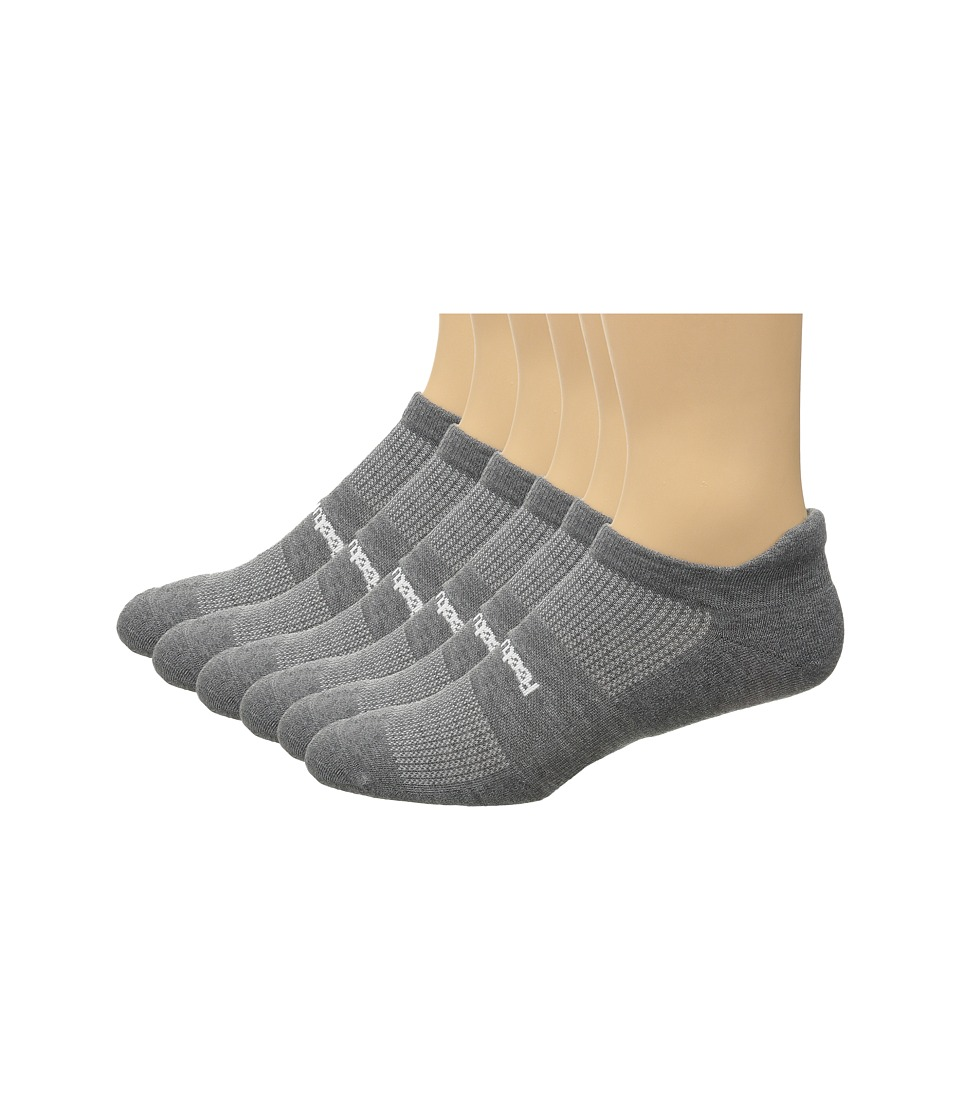 Feetures - High Performance Light Cushion No Show Tab 6-Pair Pack (Heather Gray) No Show Socks Shoes