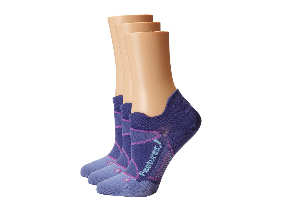Feetures - Elite Ultra Light No Show Tab 3-Pair Pack (Deep Purple/Periwinkle) No Show Socks Shoes