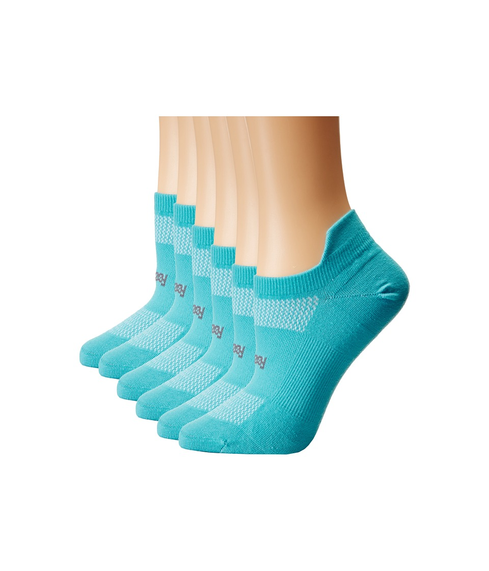 Feetures - High Performance Ultra Light No Show Tab 6-Pair Pack (Aqua) No Show Socks Shoes