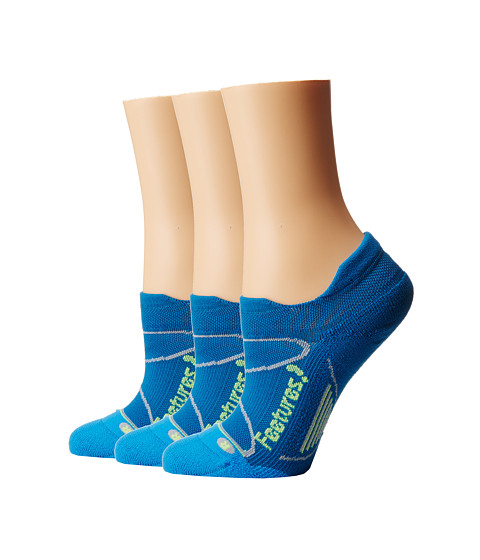 Feetures - Elite Light Cushion No Show Tab 3-Pair Pack (Pacific Blue/Reflector) No Show Socks Shoes