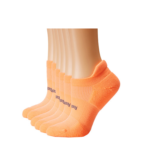 Feetures - High Performance Light Cushion No Show Tab 6-Pair Pack (Coral) No Show Socks Shoes