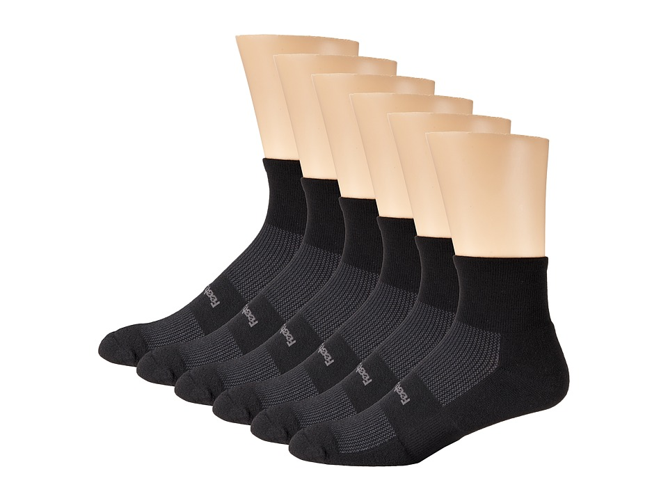 Feetures - High Performance Light Cushion Quarter 6-Pair Pack (Black 1) Quarter Length Socks Shoes