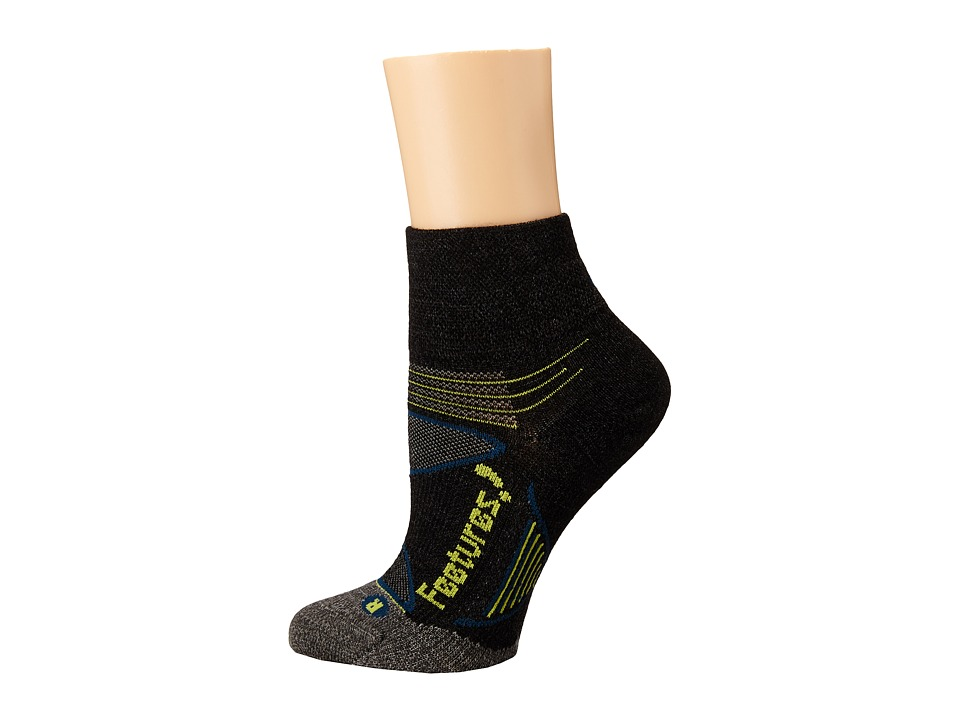 Feetures - Elite Merino+ Ultra-Light Cushion Quarter- 3pk (Charcoal/Lime 1) Quarter Length Socks Shoes