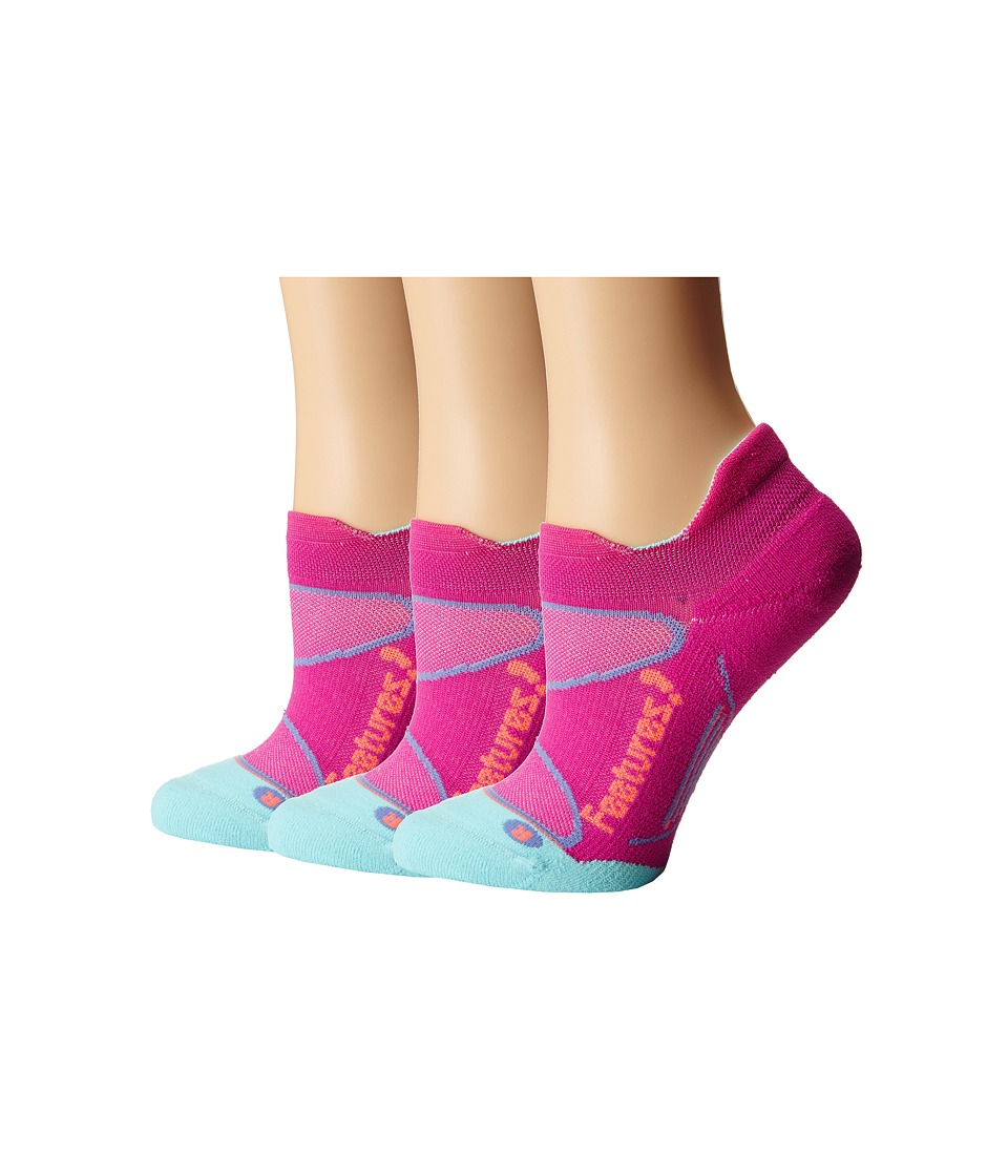 Feetures - Elite Light Cushion No Show Tab 3-Pair Pack (Deep Pink/Aruba Blue) No Show Socks Shoes