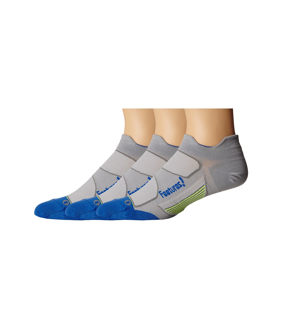 Feetures - Elite Ultra Light No Show Tab 3-Pair Pack (Gray/Olympian Blue) No Show Socks Shoes