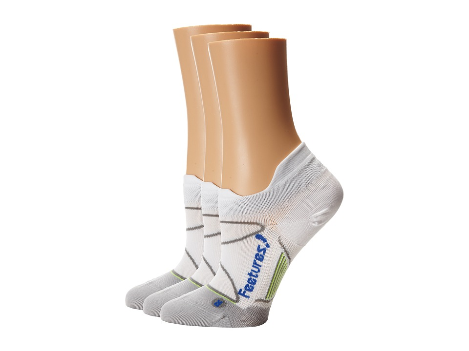 Feetures - Elite Ultra Light No Show Tab 3-Pair Pack (White/Olympian Blue) No Show Socks Shoes