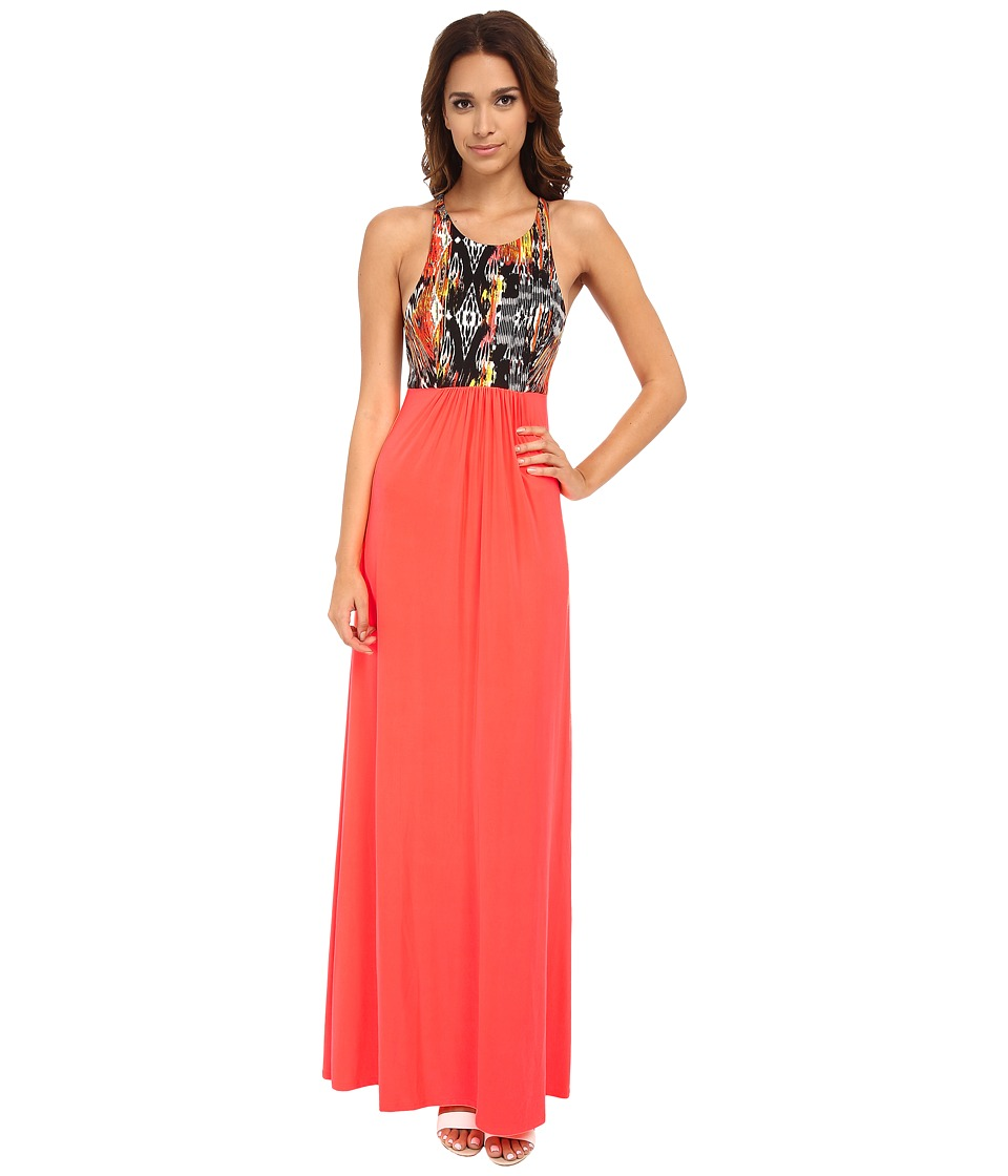 Tbags Los Angeles - X Open Back Maxi Dress (Neon Coral) Women