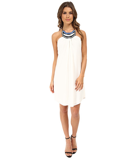 Tbags Los Angeles - Beaded Neck Halter Dress (White) Women