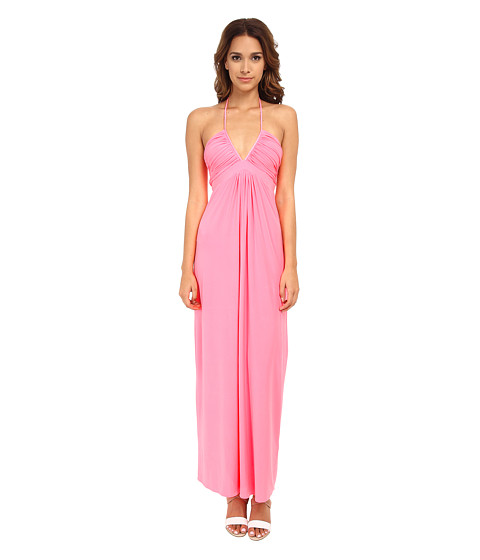 Tbags Los Angeles - Deep-Ve Ruched Halter Maxi w/ Braided Ties (Neon Pink) Women's Dress
