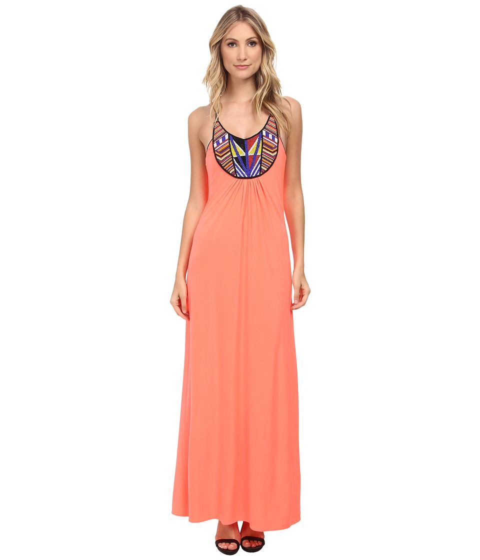 Tbags Los Angeles - Beaded Halter Maxi Dress (Neon Coral) Women's Dress