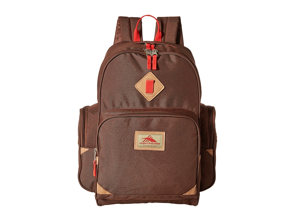High Sierra - Warren Backpack (Chocolate/Crimson) Backpack Bags