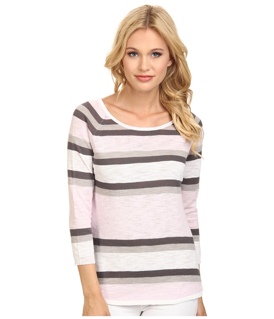 C&C California - 3/4 Sleeve Stripe Sweater (Light Lilac) Women's Sweater