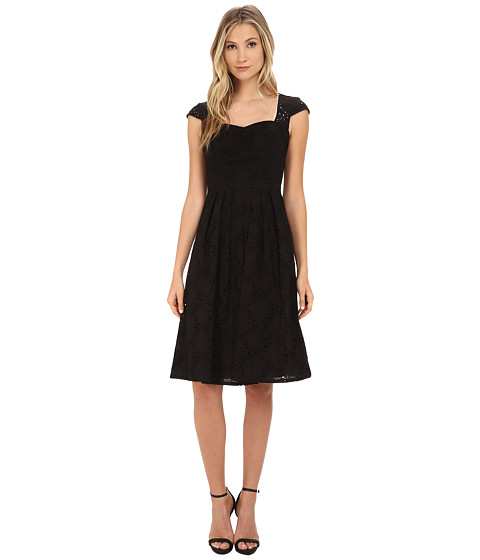 Adrianna Papell - Sweetheart Cap Sleeve Fit Flare (Black) Women's Dress