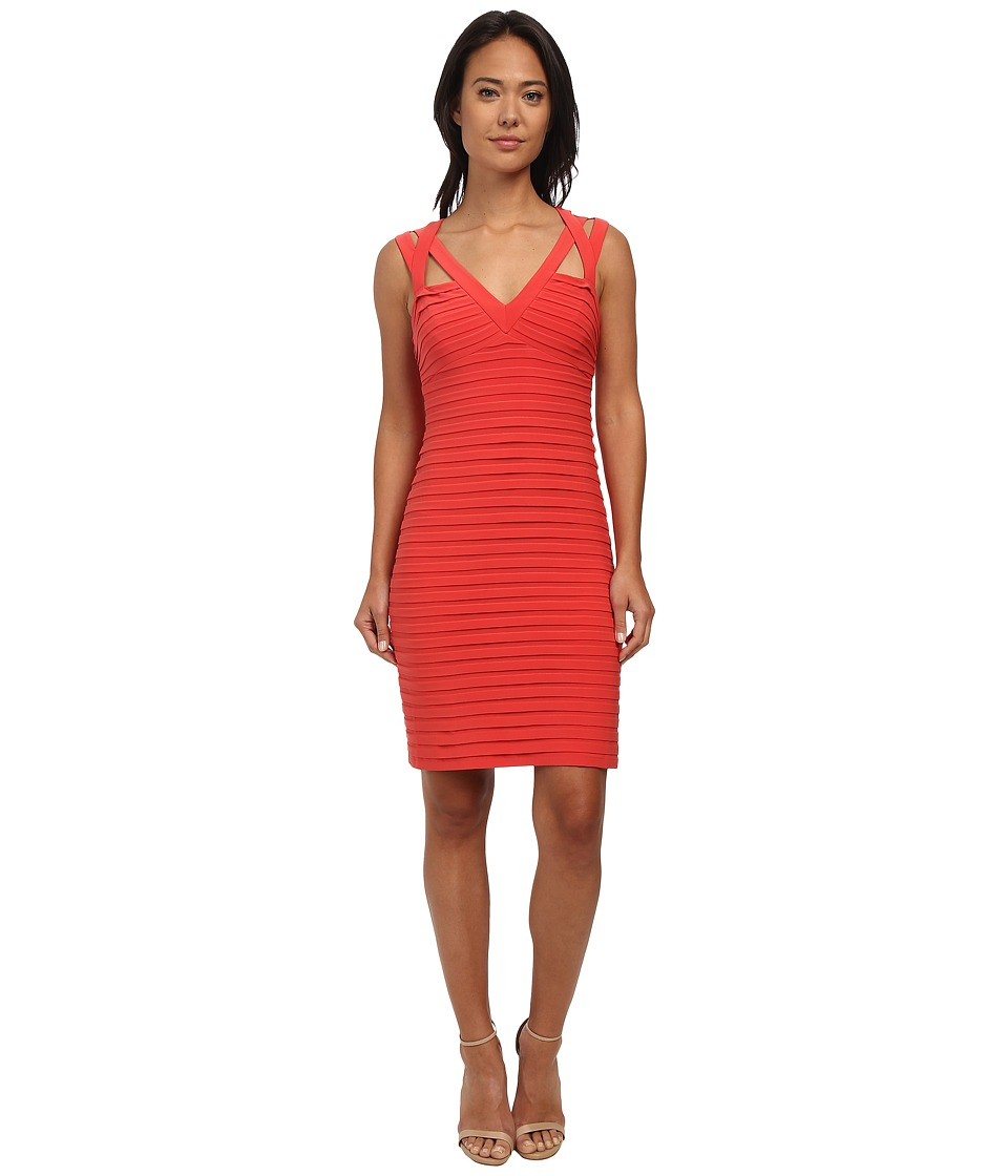 Adrianna Papell - Banded Cut Away Shoulder Detail (Flame) Women's Dress