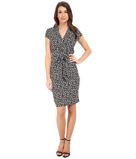 Adrianna Papell - Short Sleeve Printed Wrap Dress (Teak) Women