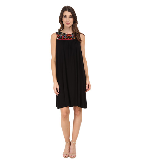 Adrianna Papell - Scoop Neck Embroidered Yoke Dress (Black) Women's Dress