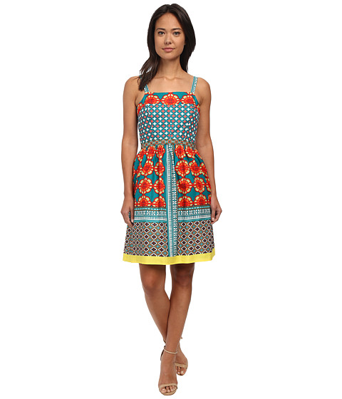 Adrianna Papell - Printed Cotton Sundress (Turquoise Multi) Women's Dress