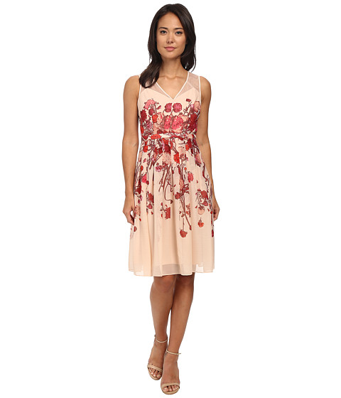 Adrianna Papell - Deep V Fit Flare Dress (Blush Multi) Women