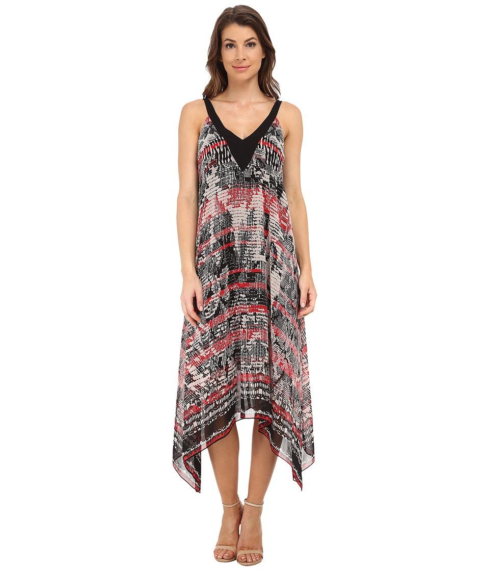 Adrianna Papell - Printed Hankerchief Hem Dress (Black/Pink) Women's Dress