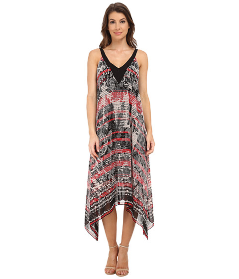 Adrianna Papell - Printed Hankerchief Hem Dress (Black/Pink) Women's Dress