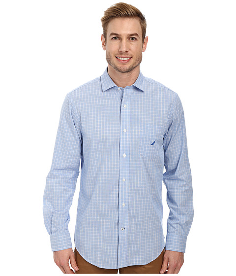 Nautica - Long Sleeve Wrinkle Resistant Medium Plaid (Regatta) Men