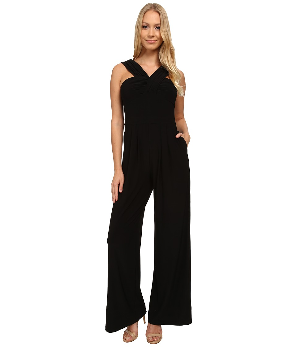 Adrianna Papell - Draped Halter Neckline Jumpsuit (Black) Women's Jumpsuit & Rompers One Piece