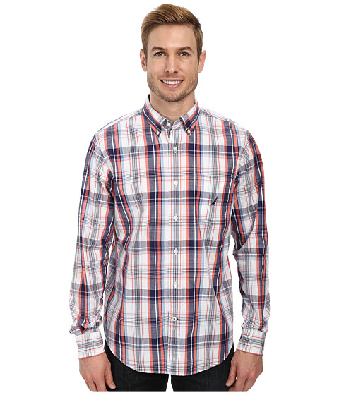 Nautica - Long Sleeve Slub Poplin Plaid (Passage Navy) Men's Clothing