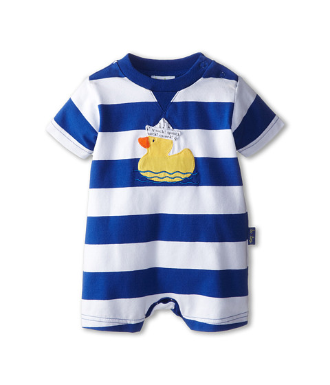 le top - Quack! Wide Stripe Romper Duckie with Paper Hat (Newborn/Infant) (Coblt Blue) Boy's Jumpsuit & Rompers One Piece