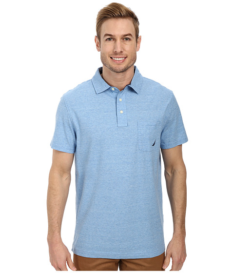 Nautica - Short Sleeve Solid Polo (Porthole Blue) Men's Short Sleeve Pullover