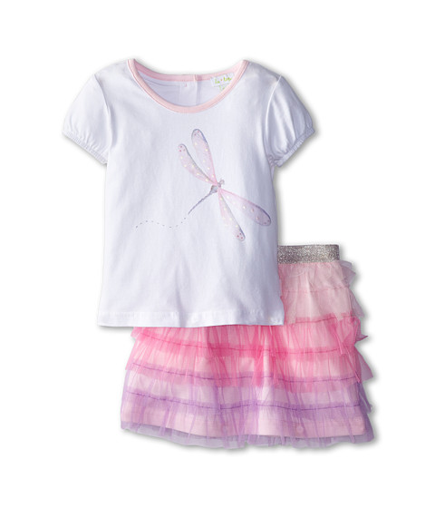 le top - Dragonfly Dreams Shirt and Skirt/Shorts with Tiered Tulle Ruffles Dragonfly (Toddler/Little Kids) (White) Girl