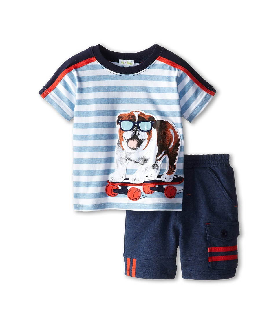 le top - Buddy The Bulldog Stripe Shirt and Denim Look French Terry Shorts (Infant/Toddler) (Heather Blue) Boy