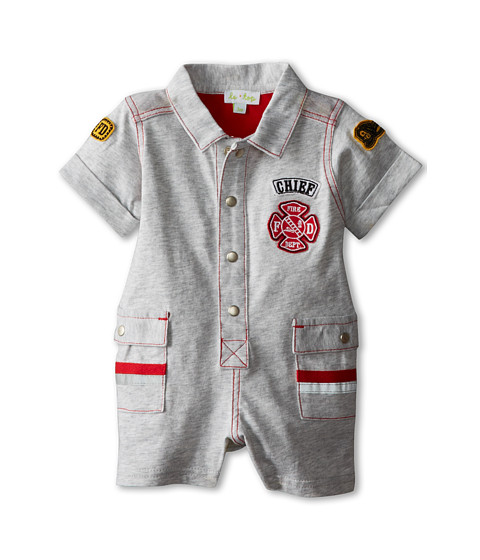le top - Fire Chief Romper (Newborn/Infant) (Heather Grey) Boy's Jumpsuit & Rompers One Piece