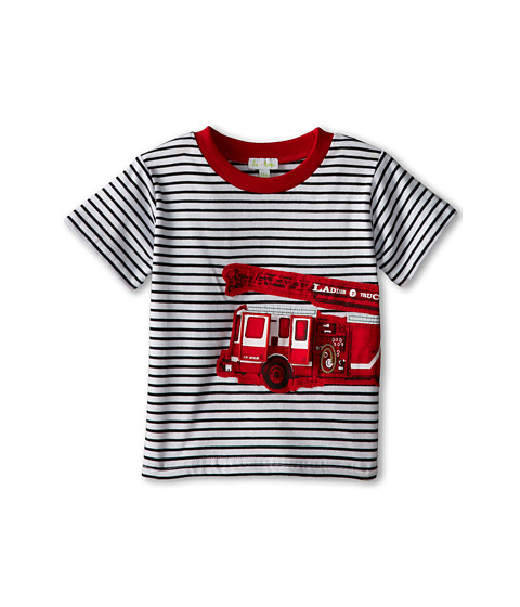 le top - Fire Chief Stripe Shirt Fire Truck (Infant/Toddler) (Black) Boy's Clothing
