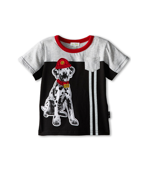 le top - Fire Chief Pieced Shirt with Reflective Tape Sparky The Dalmation (Infant/Toddler) (Black) Boy