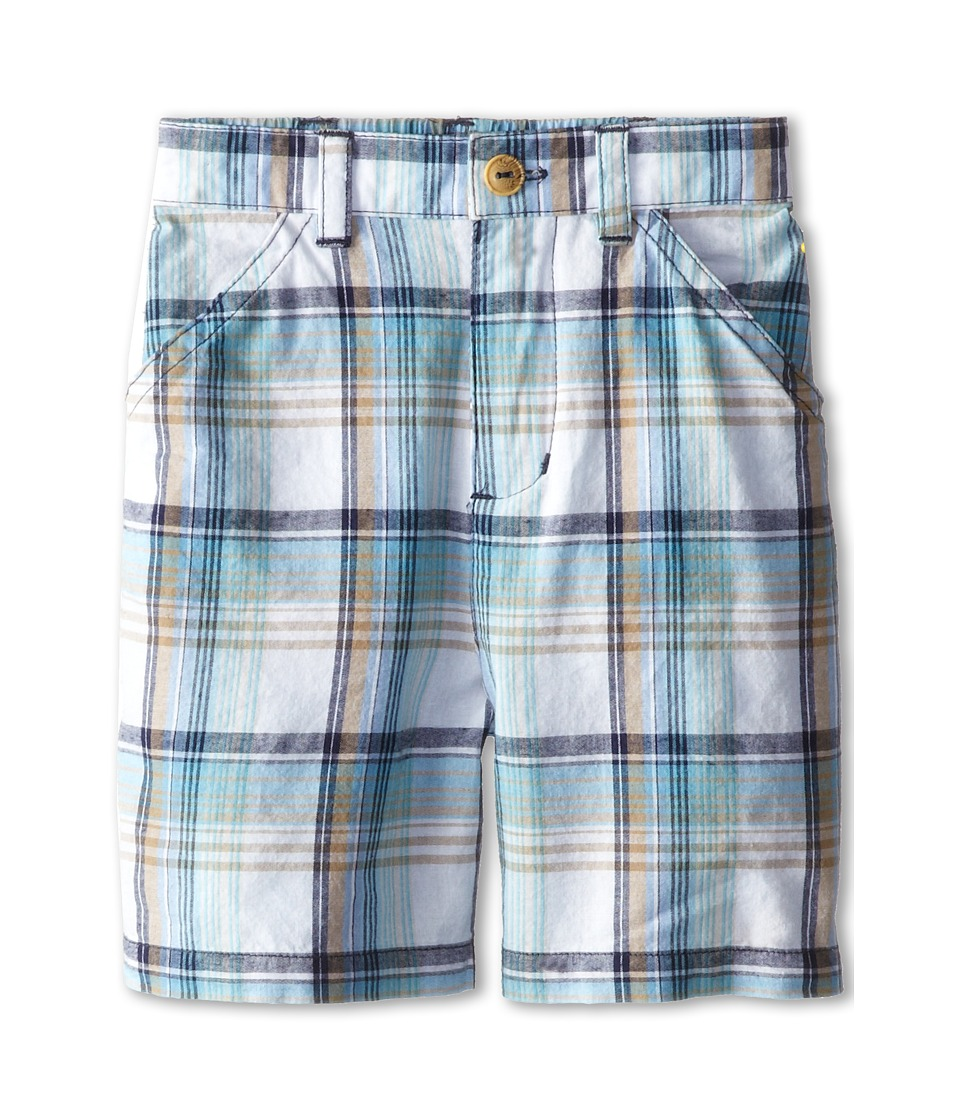 le top - Grasshopper Plaid Woven Shorts (Infant/Toddler) (Blue) Boy's Shorts