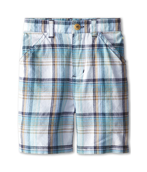 le top - Grasshopper Plaid Woven Shorts (Infant/Toddler) (Blue) Boy