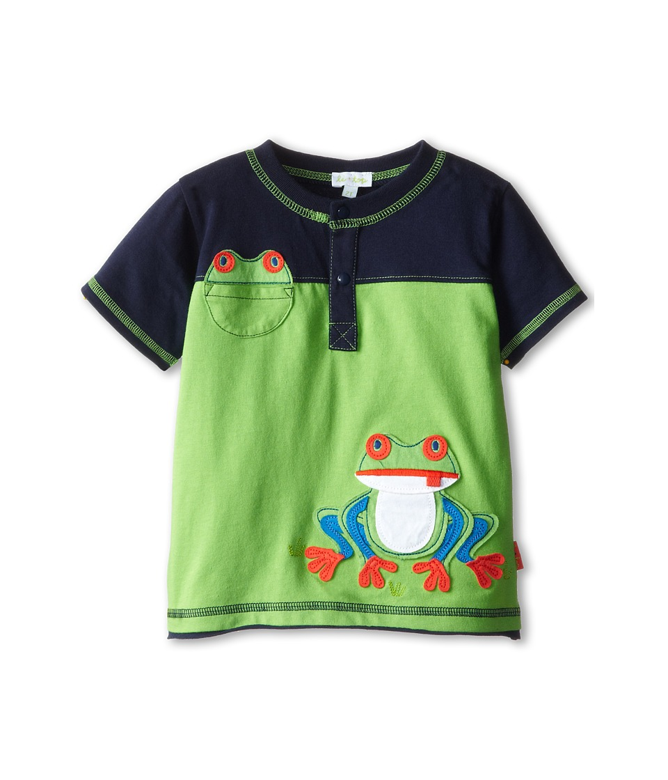 le top - Frog Shirt with Novelty Pocket Froggy (Infant/Toddler) (Leaf Green) Boy's T Shirt